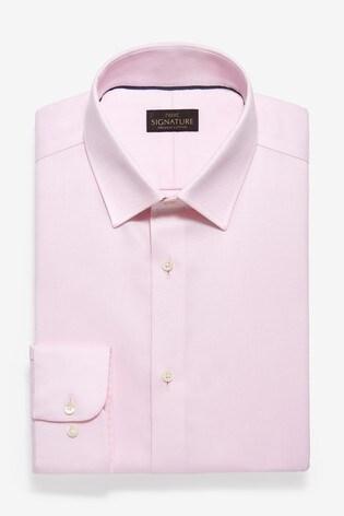 Pink Slim Fit Single Cuff Non-Iron Egyptian Cotton Stretch Signature Shirt