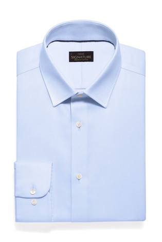 Blue Slim Fit Single Cuff Non-Iron Egyptian Cotton Stretch Signature Shirt