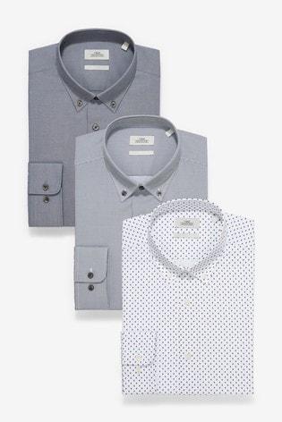 Grey Texture And Print Regular Fit Single Cuff Shirts Three Pack