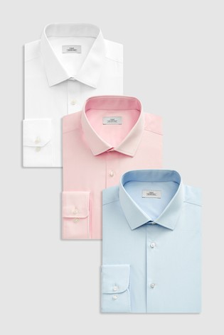 Blue/Pink/White Regular Fit Single Cuff Shirts Three Pack