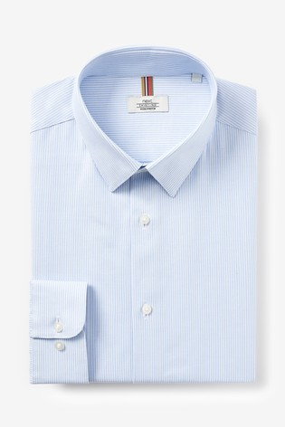 Blue Slim Fit Single Cuff Cotton Stretch Motion Flex Shirt