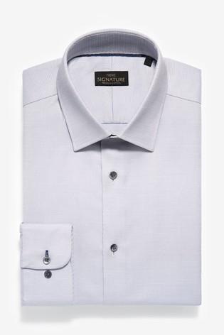 Grey Texture Slim Fit Single Cuff Non-Iron Egyptian Cotton Stretch Signature Shirt