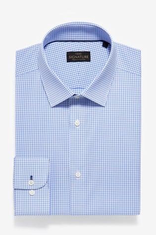 Blue Gingham Check Slim Fit Single Cuff Non-Iron Egyptian Cotton Stretch Signature Shirt