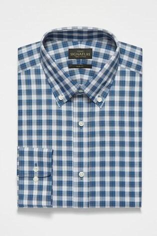 Mid Blue Signature Check Slim Fit Shirt