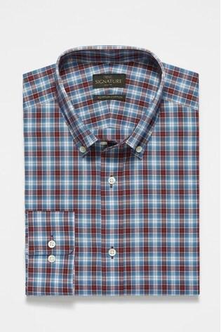 Burgundy Signature Check Slim Fit Shirt