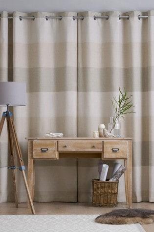Natural Locksley Woven Stripe Eyelet Curtains
