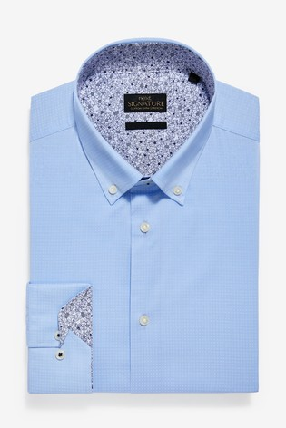 Light Blue Slim Fit Single Cuff Textured Stretch Signature Button Down Shirt With Trim Detail