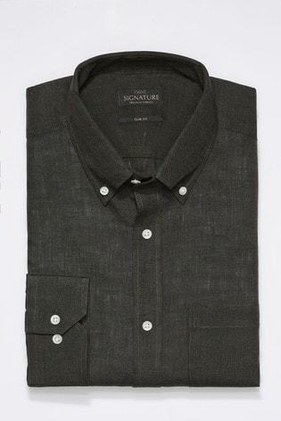 Olive Slim Fit Single Cuff Signature Nova Fides Linen Shirt