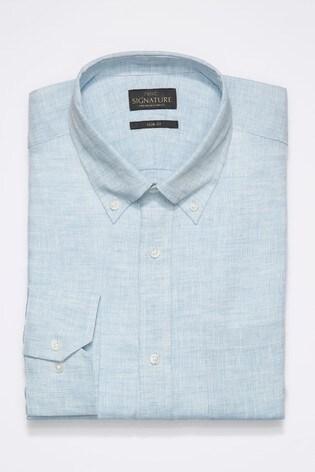 Light Blue Slim Fit Single Cuff Signature Nova Fides Linen Shirt