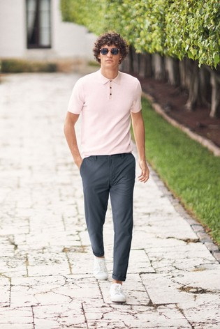 Pink Textured Cotton Short Sleeve Polo Top