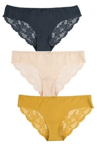 Navy/Ochre/Nude Brazilian No VPL Lace Back Briefs Three Pack