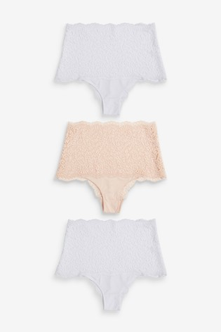 Nude/White High Rise Lace High Waisted Knickers Three Pack