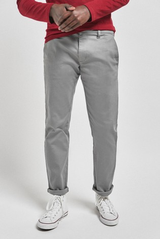 Grey Slim Fit Motionflex Stretch Chino Trousers