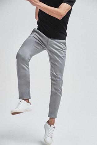 Grey Skinny Fit Motion Flex Stretch Chino Trousers