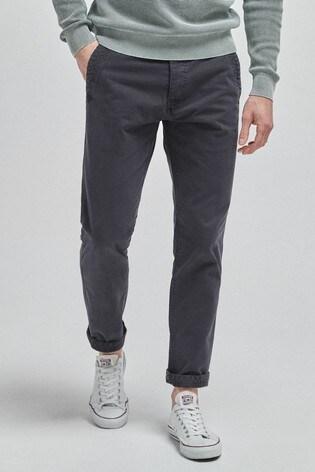 Navy Slim Fit Premium Laundered Chino Trousers