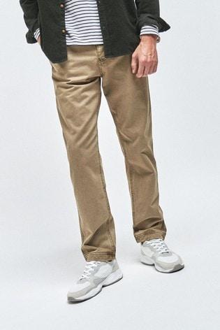 Stone Straight Fit Premium Laundered Chino Trousers