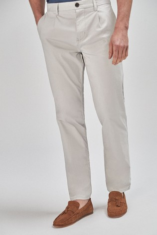 Grey Straight Fit Pleat Front Chinos