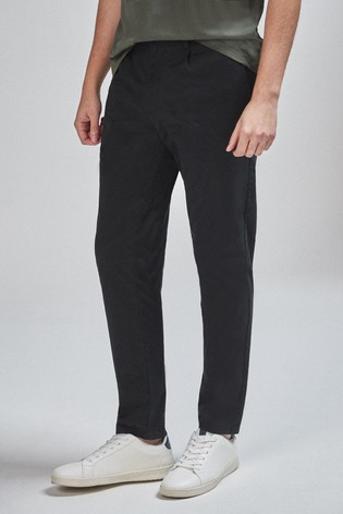 Black Tapered Slim Fit Pleat Front Chinos
