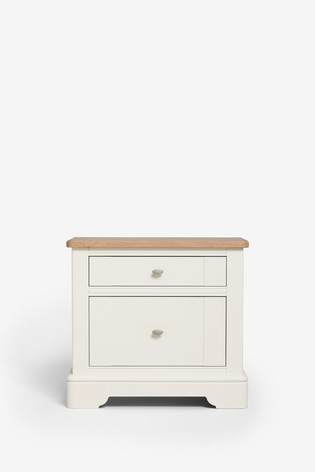 Hampton 2 Drawer Wide Bedside Table