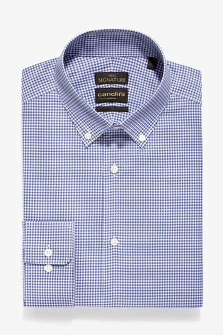 Blue Slim Fit Check Canclini Signature Shirt