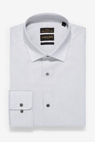 Grey Regular Fit Single Cuff Signature Canclini Slim Fit Stripe Shirt