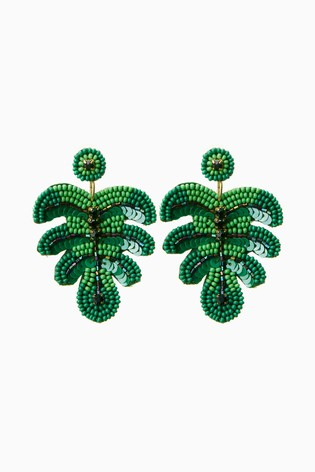 Green Beaded Leaf Earrings