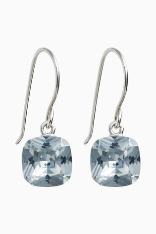 Sterling Silver Square Jewel Drop Earrings