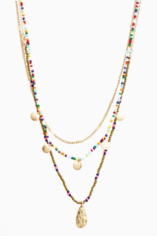 Multicolour Beaded Multi-Layer Necklace