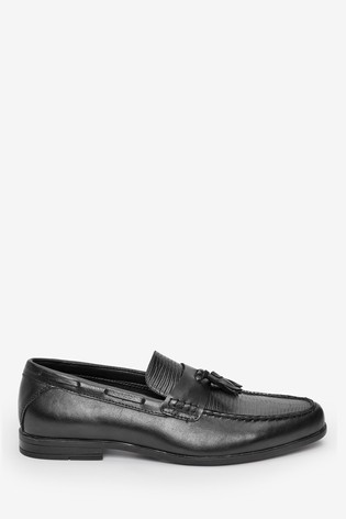 Black Textured Tassel Loafers