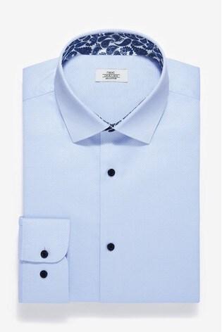 Light Blue Regular Fit Single Cuff Cotton Shirt with Paisley Trim Detail