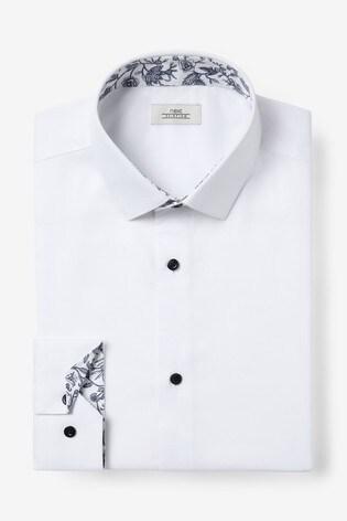 White Slim Fit Single Cuff Contrast Trim Shirt