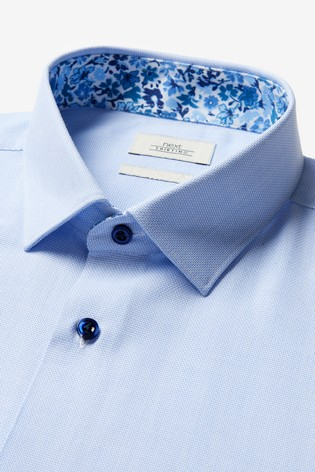 Light Blue Slim Fit Single Cuff Contrast Trim Shirt