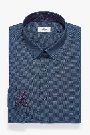 Blue Button Down Slim Fit Single Cuff Contrast Trim Shirt