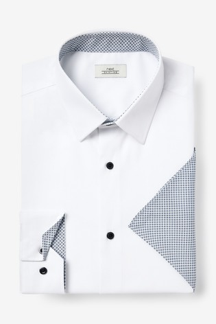 White Slim Fit Single Cuff Contrast Trim Shirt And Pocket Square Set