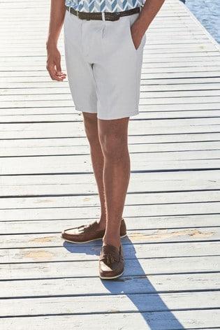 Light Grey Linen Blend Shorts