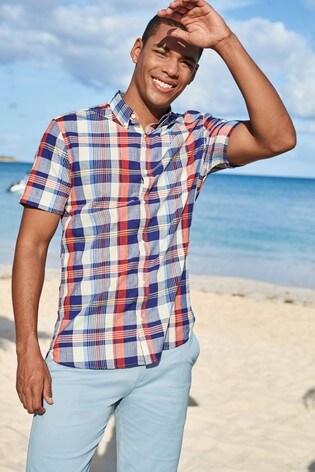 Blue Regular Fit Short Sleeve Madras Check Shirt