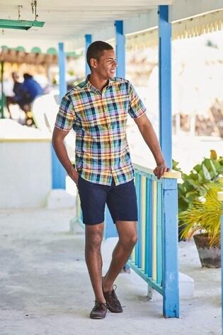 Yellow Regular Fit Short Sleeve Madras Check Shirt