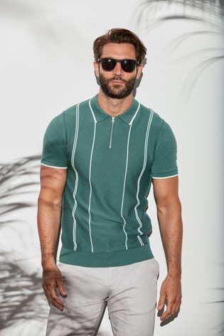 Sage Vertical Stripe Knitted Zip Polo