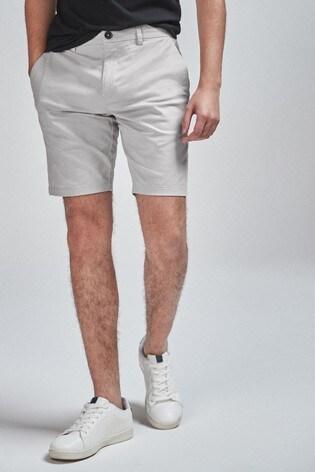 Light Grey Slim Fit Stretch Chino Shorts