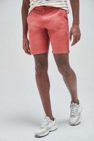 Pink Straight Fit Stretch Chino Shorts