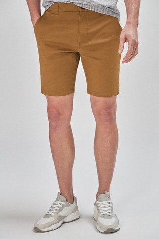Tan Straight Fit Stretch Chino Shorts