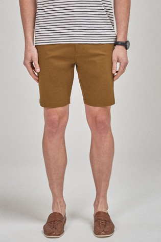 Tan Slim Fit Stretch Chino Shorts