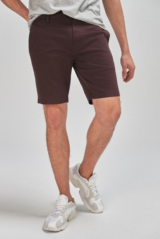 Burgundy Slim Fit Stretch Chino Shorts