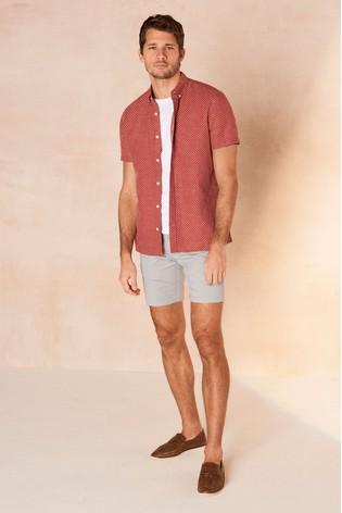 Rust Regular Fit Textured Cross Linen Blend Shirt