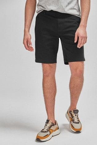 Black Straight Fit Stretch Chino Shorts