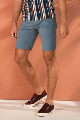 Blue Straight Fit Stretch Chino Shorts