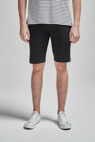 Black Slim Fit Stretch Chino Shorts