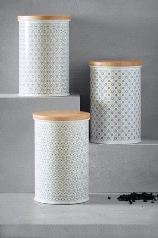 Set of 3 Tile Storage Tins