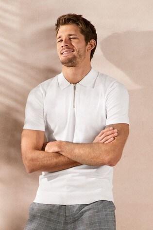 White Textured Cotton Zip Polo