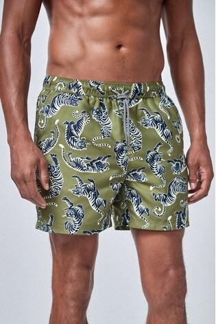 Khaki Tiger Print Swim Shorts